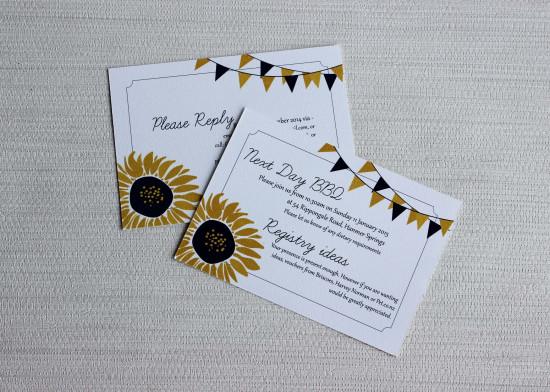 sunflower wedding invitation info cards