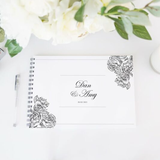 guestbook white cover black spine