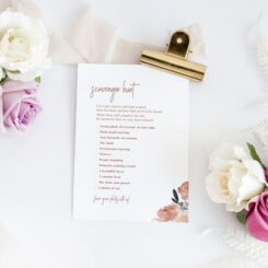 wedding guest activity card among flowers