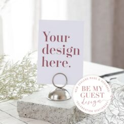 table number in metal stand that says your design here