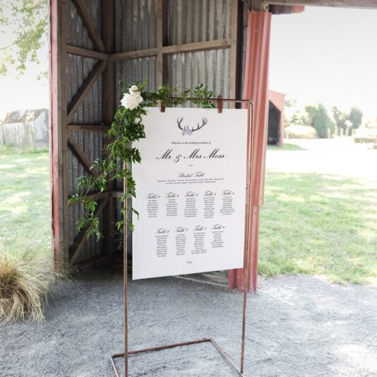 hanging sign board on copper frame in barn