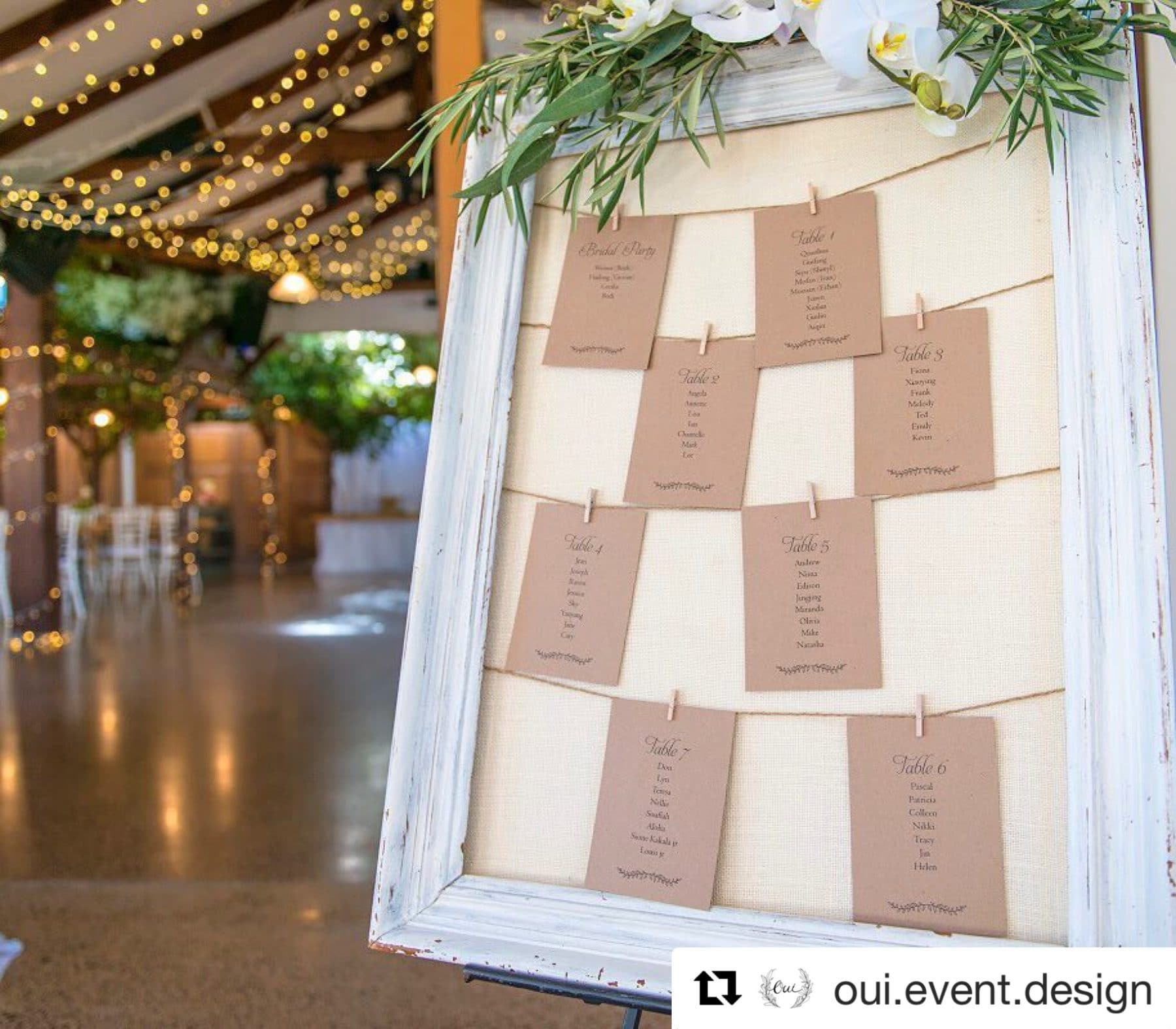 Rustic Wedding Seating Chart Ideas: Little Leaves Seating Plan (Individual Tables)