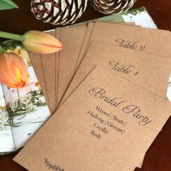 Individual Seating Plans for a Rustic Vineyard Wedding