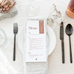 Copper Romance Wedding dinner menu