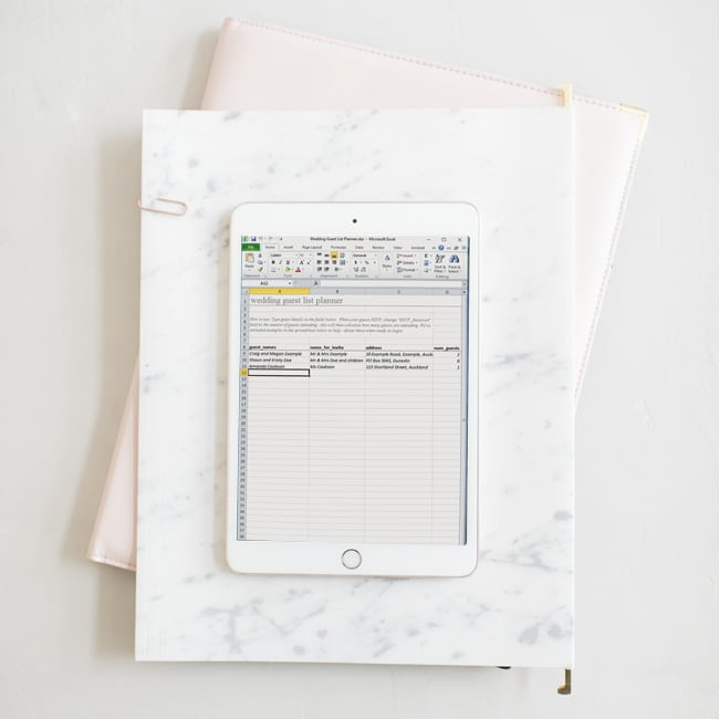 template for wedding guest list