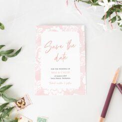Vintage Grace soft Pink floral border Save the Date