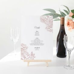 wedding bar signage with pink roses