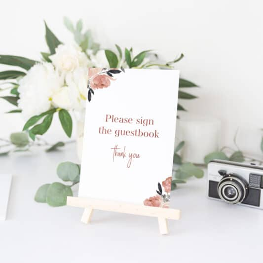 sign to ask guests to write in guestbook