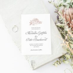 Simple Pink Rose Feature Save the Date