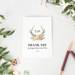 watercolour deer thank you card for wedding