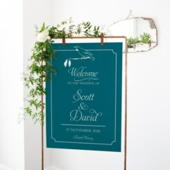 hanging sign board on copper frame with flower decorations