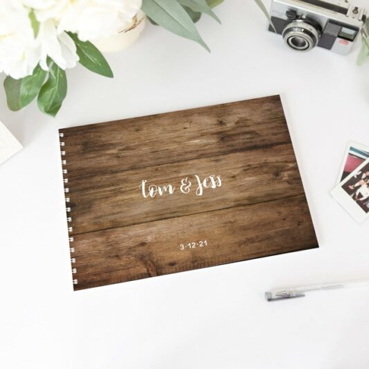 wood look guest book with white spine