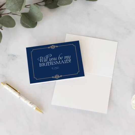 front of bridesmaid card with blank inside