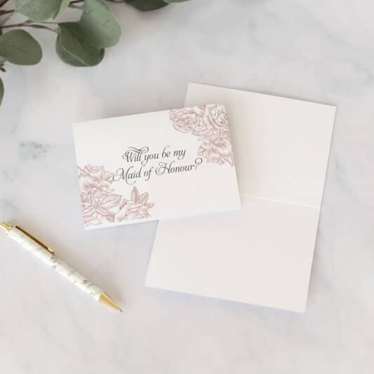 front of maid of honour card with blank inside
