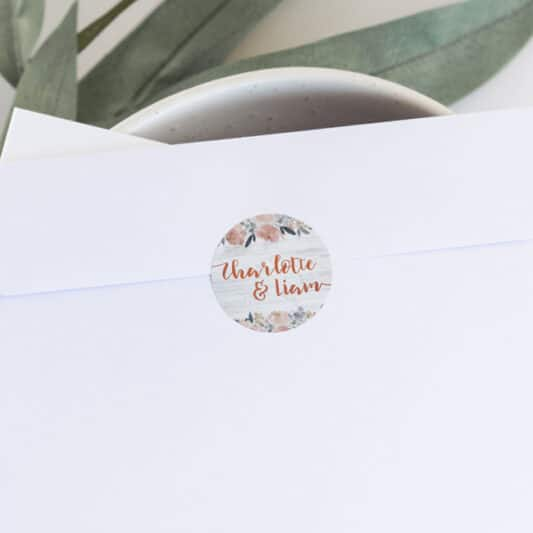close up of sticker on white envelope