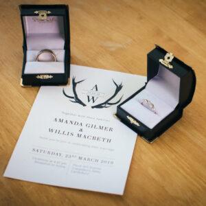 monogram deer wedding invitation canterbury nz