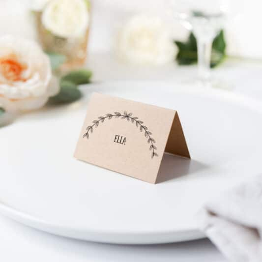 folded placecard kraft card with printed wreath and name