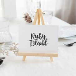 Casual luxe Black script named table numbers