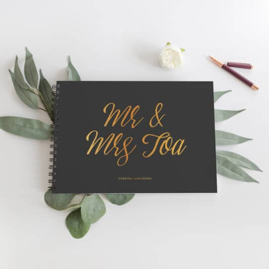 Millenia Mr & Mrs wedding Guestbook Black with gold writing