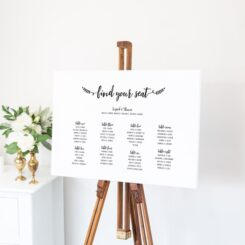 horizontal canvas sign on wooden easel