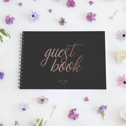 guestbook with black spine