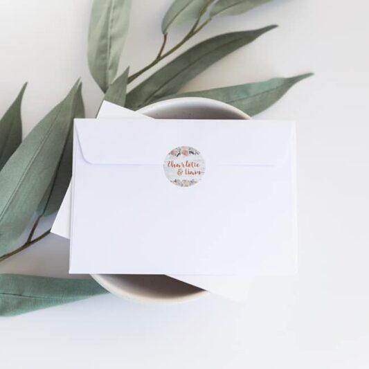 sticker on white envelope