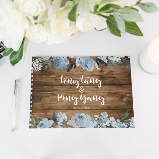 blue peonies book with white spine