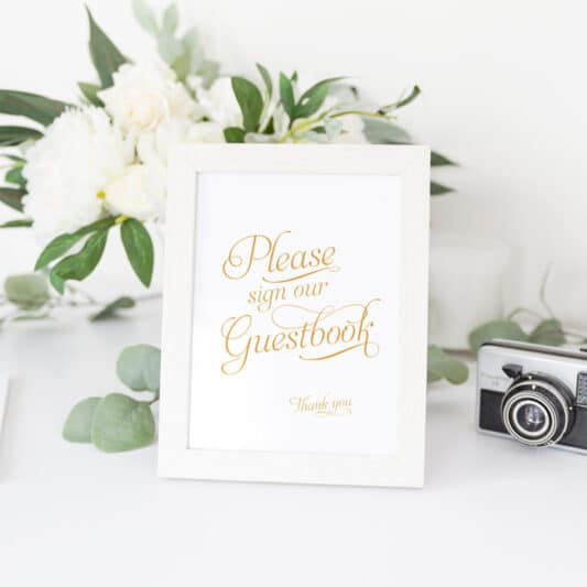 standard gold please sign our guestbook in a photo frame