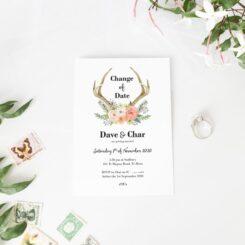 Deer-Antlers-Flowers-Wedding-Change-of-Date-Card