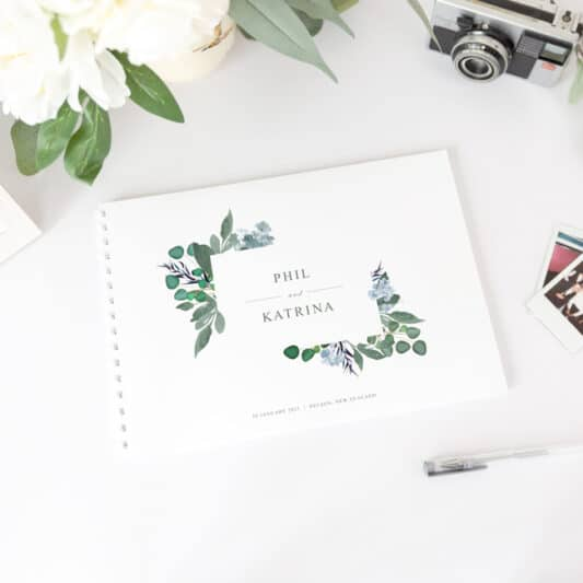 guestbook with white spine printed on white paper