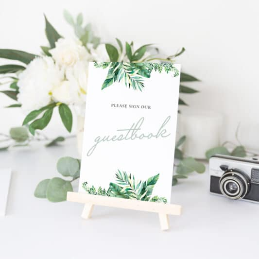 please sign our guestbook card on small easel