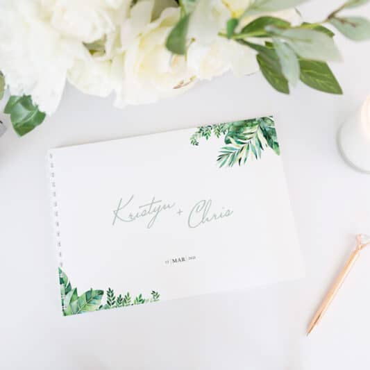 guestbook with white binding