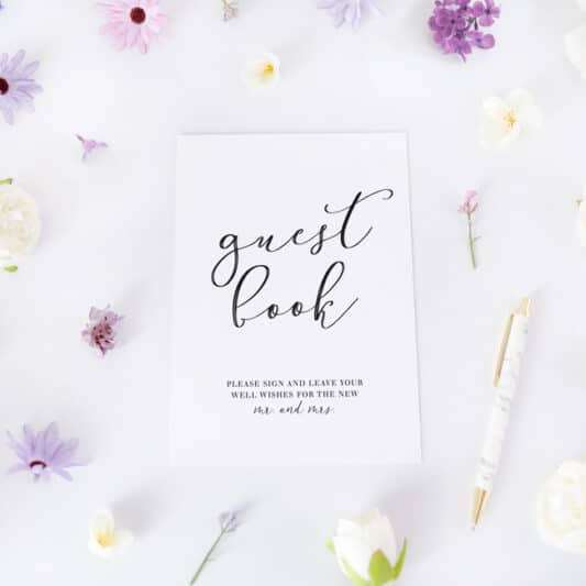 guestbook sign with flowers