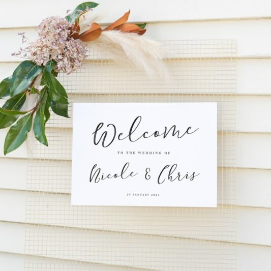 a3 sign attached to wire mesh with floral decoration