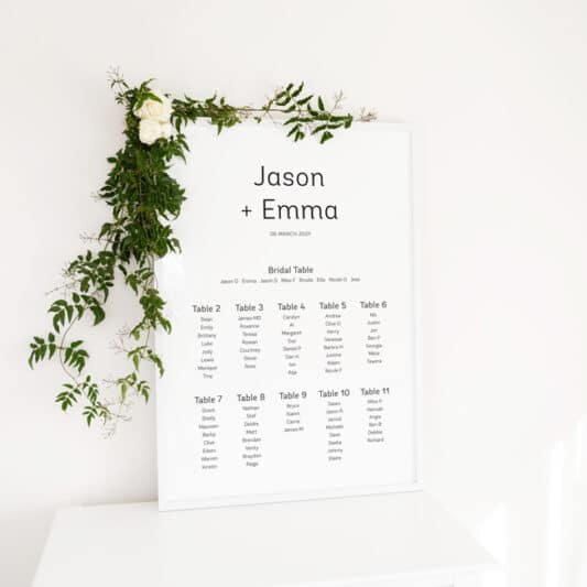 poster in frame with floral decorations