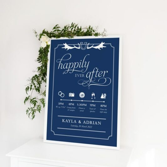 poster in white frame with floral decorations