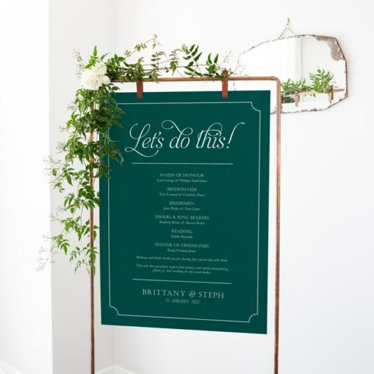 hanging sign board on copper frame