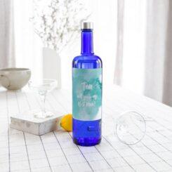 oversize label on vodka bottle