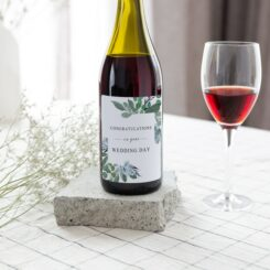 Dreamy Greenery Congratulations on your wedding day wine label