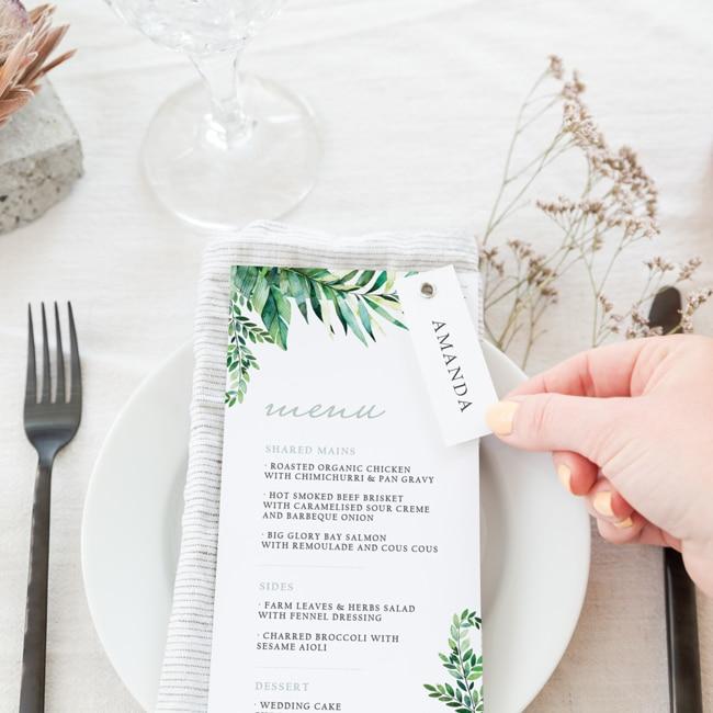 Lush Foliage Menu on napkin with name tag closure