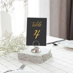 table number in metal stand