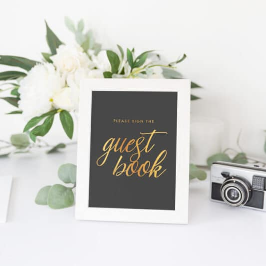 Black and gold Please sign our Guestbook sign