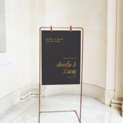 Millenia Black and gold wedding board sign