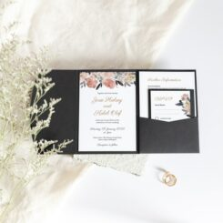 Traditional Peonies Pocketfold Wedding invite Stacked inserts